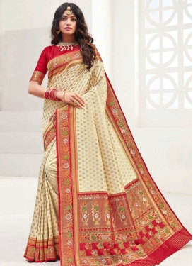 Cream and Red Woven Work Trendy Classic Saree