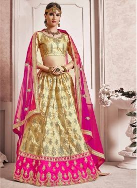 Cream and Rose Pink A Line Lehenga Choli