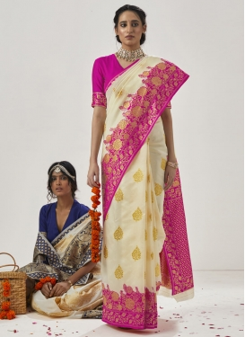 Cream and Rose Pink Art Silk Designer Contemporary Style Saree