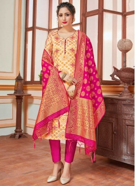 Cream and Rose Pink Art Silk Pant Style Salwar Suit
