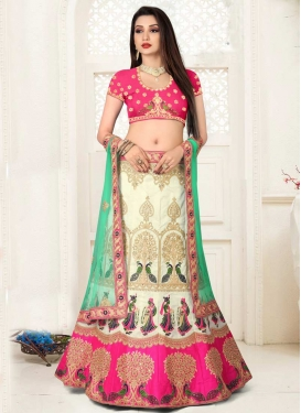 Cream and Rose Pink Art Silk Trendy Lehenga Choli For Ceremonial