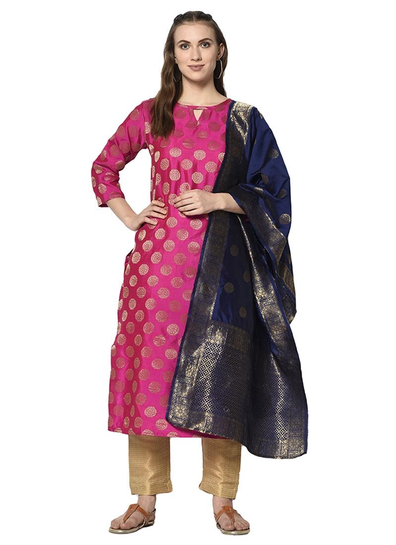 Cream and Rose Pink Cotton Silk Pant Style Straight Salwar Kameez