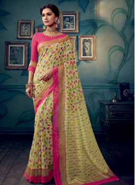 Cream and Rose Pink Digital Print Work Designer Contemporary Style Saree