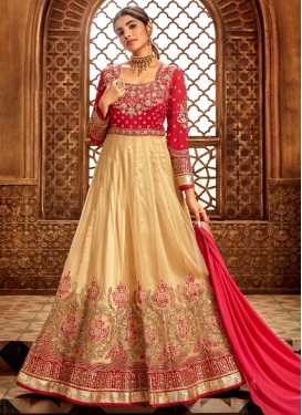 Cream and Rose Pink Embroidered Work Floor Length Anarkali Salwar Suit