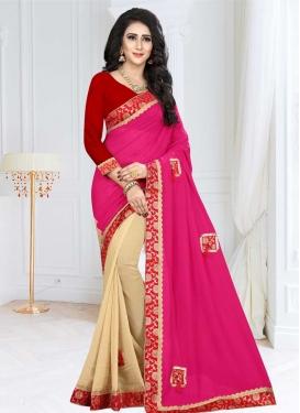 Cream and Rose Pink Lace Work Half N Half Trendy Saree