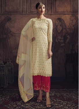 Cream and Rose Pink Palazzo Style Pakistani Salwar Kameez