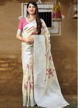 Cream and Rose Pink Thread Work Traditional Saree