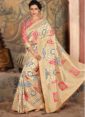 Cream And Salmon Color Traditional Saree