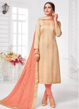 Cream and Salmon Embroidered Work Churidar Salwar Suit