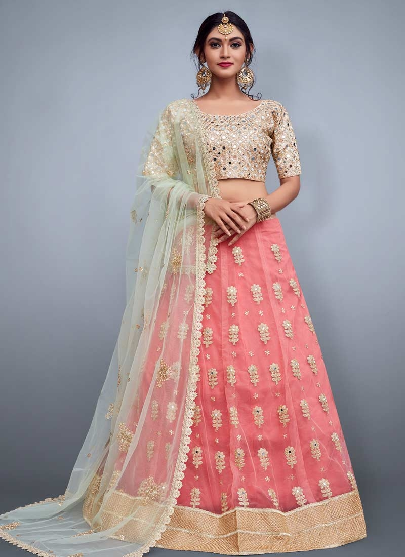 Cream and Salmon Embroidered Work Designer Classic Lehenga Choli