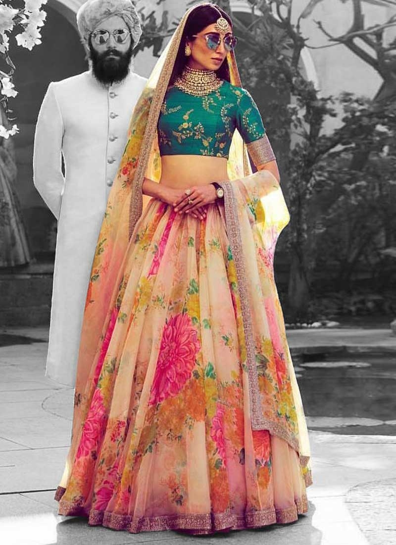 Cream and Salmon Organza A - Line Lehenga For Ceremonial