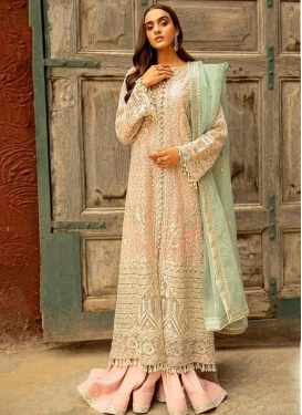 Cream and Salmon Palazzo Style Pakistani Salwar Kameez For Ceremonial