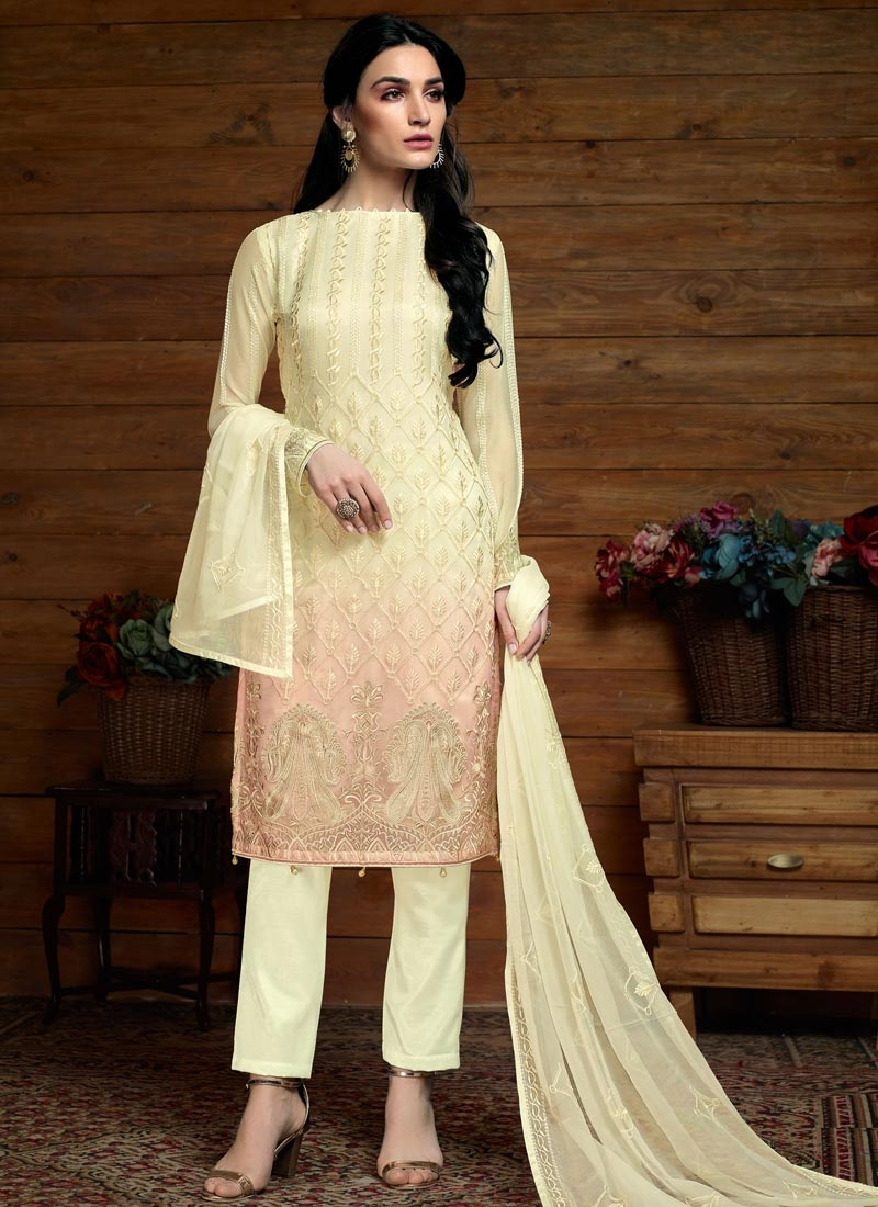 Cream and Salmon Pant Style Suit For Festival