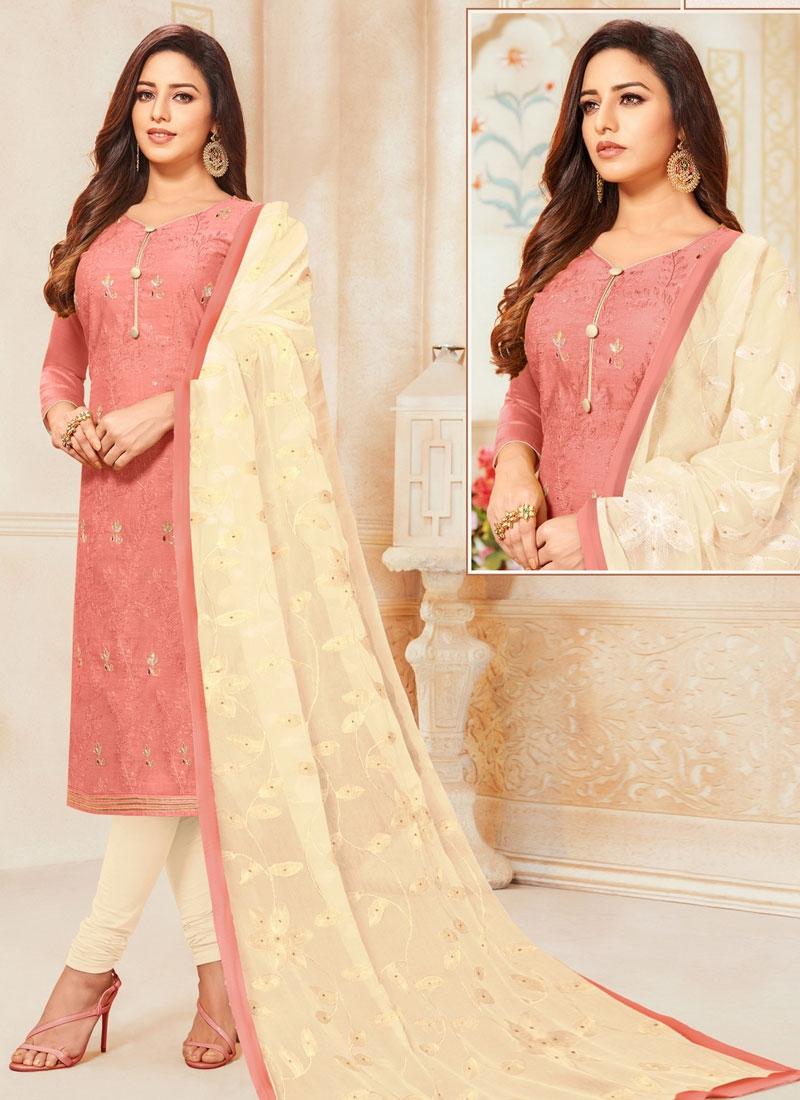 Cream and Salmon Trendy Churidar Salwar Suit