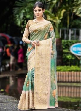 Cream and Sea Green Digital Print Work Traditional Designer Saree