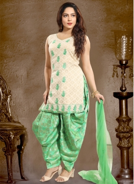 Cream and Sea Green Embroidered Work Readymade Salwar Kameez