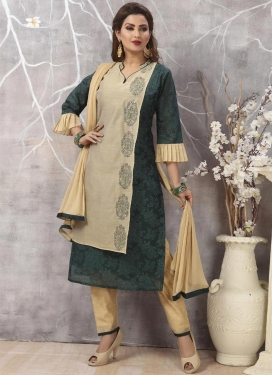 Cream and Teal Chanderi Silk Readymade Designer Salwar Suit