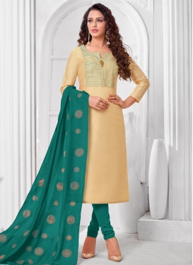 Cream and Teal Trendy Churidar Suit For Ceremonial