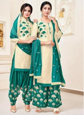 Cream and Teal Trendy Salwar Kameez