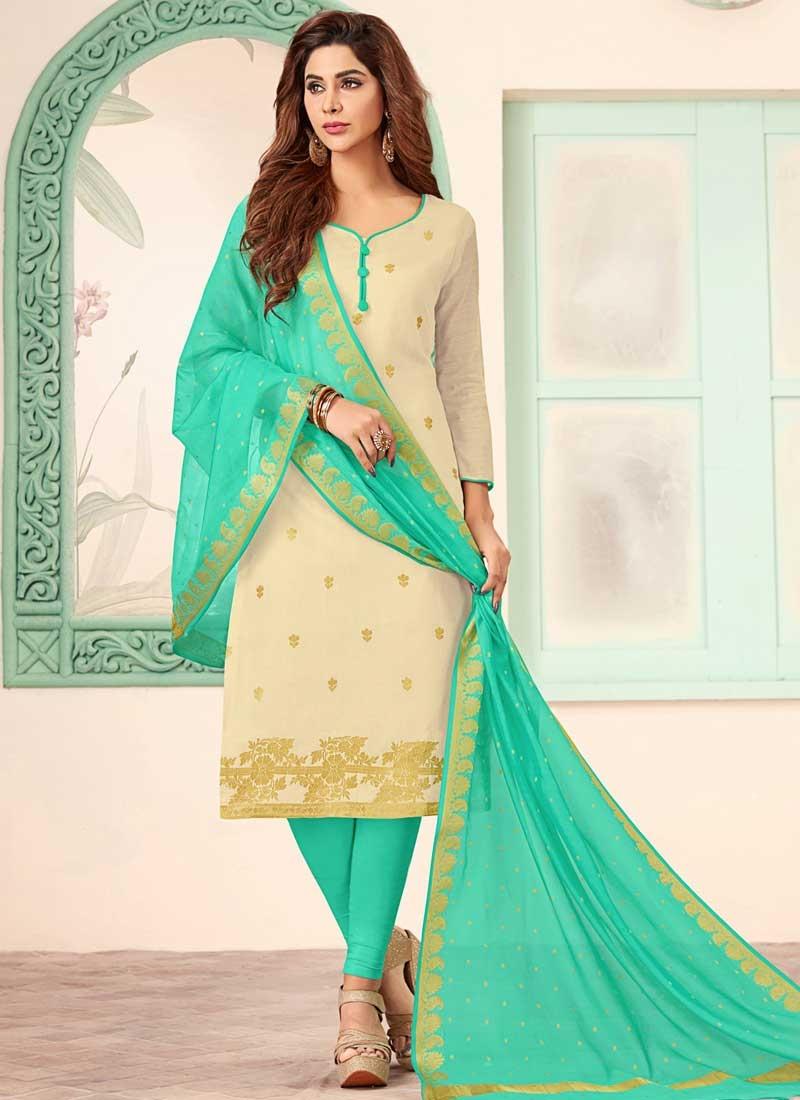 Cream and Turquoise Churidar Salwar Suit