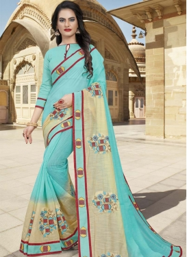 Cream and Turquoise Trendy Classic Saree For Ceremonial