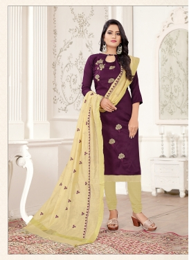 Cream and Wine Party Churidar Salwar Kameez
