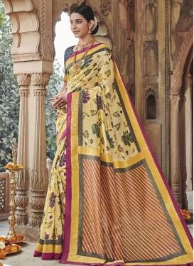 Cream and Yellow Art Silk Trendy Classic Saree