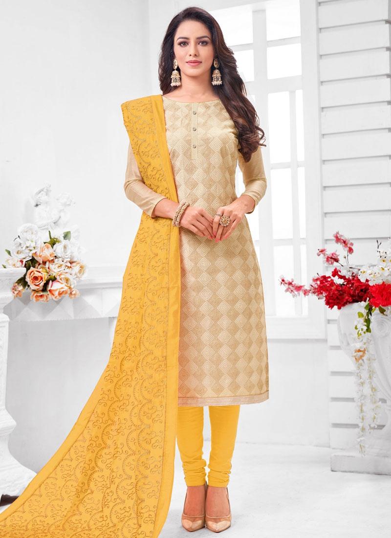 Cream and Yellow Cotton Silk Trendy Churidar Salwar Suit