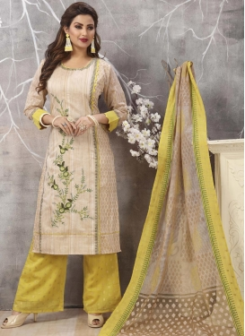 Cream and Yellow Readymade Salwar Kameez