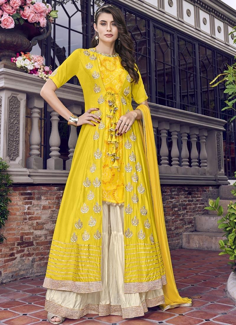 Cream and Yellow Sharara Salwar Suit