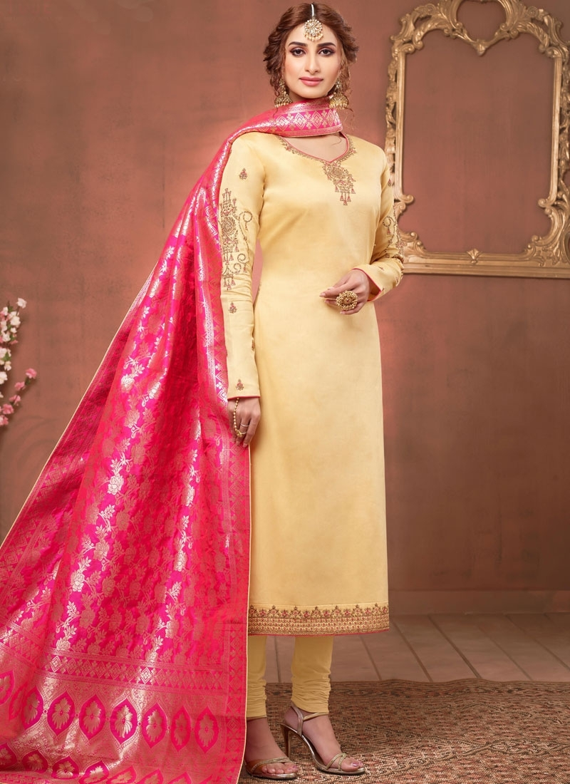 Cream Embroidered Churidar Salwar Suit