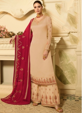 Cream Embroidered Georgette Satin Designer Palazzo Salwar Suit