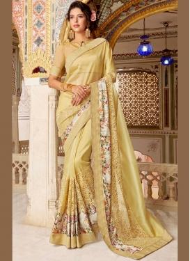 Cream Printed Satin Silk Classic Designer Saree