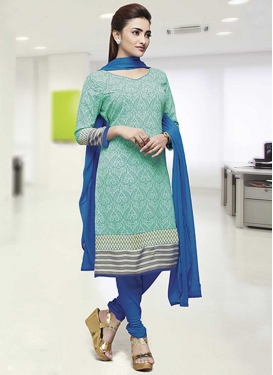 Crepe Silk Aqua Blue and Blue Print Work Trendy Churidar Salwar Suit