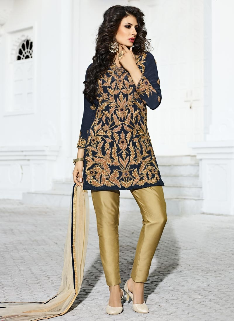 Crepe Silk Beads Work Beige and Navy Blue Pant Style Designer Suit