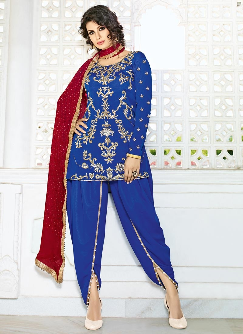 Crepe Silk Beads Work Designer Patiala Salwar Suit