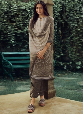 Crepe Silk Beige and Brown Pant Style Pakistani Suit