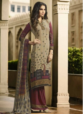 Crepe Silk Beige and Maroon Digital Print Work Palazzo Style Pakistani Salwar Suit