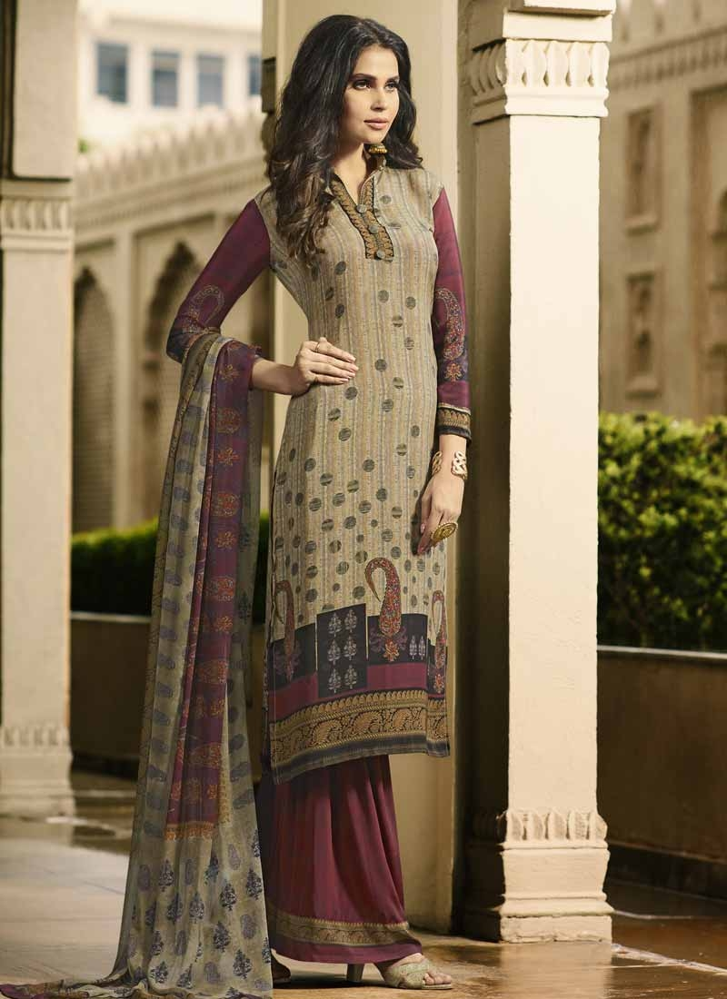 Crepe Silk Beige and Maroon Digital Print Work Palazzo Style Pakistani Salwar Suit