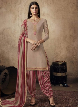 Crepe Silk Beige and Red Embroidered Work Trendy Straight Salwar Kameez