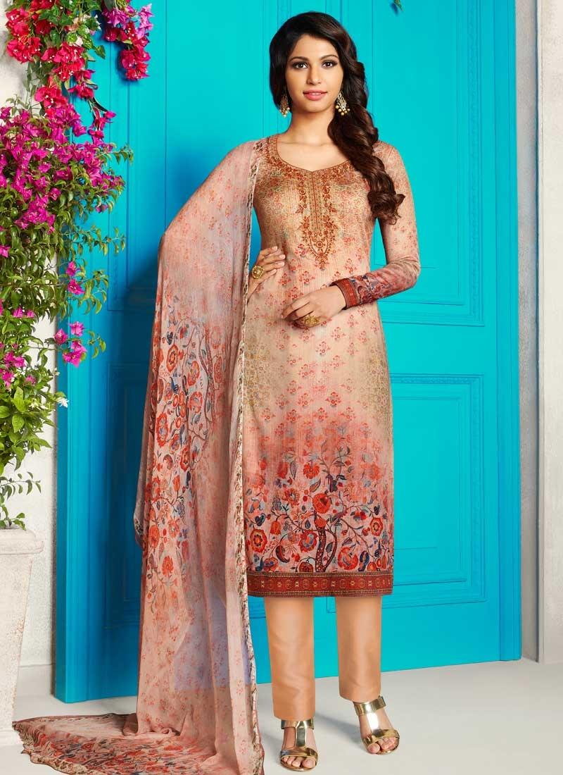 Crepe Silk Beige and Salmon Digital Print Work Pant Style Salwar Suit