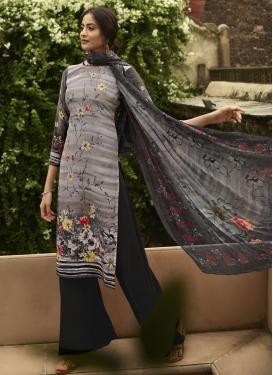 Crepe Silk Black and Grey Digital Print Work Palazzo Style Pakistani Salwar Suit