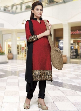 Crepe Silk Black and Red Digital Print Work Churidar Salwar Kameez
