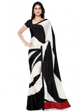 Crepe Silk Black and White Designer Contemporary Saree For Casual