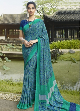 Crepe Silk Blue and Sea Green Digital Print Work Contemporary Style Saree