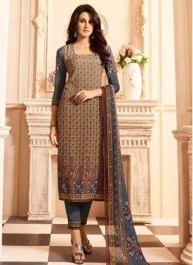 Crepe Silk Brown and Grey Digital Print Work Pant Style Pakistani Salwar Kameez
