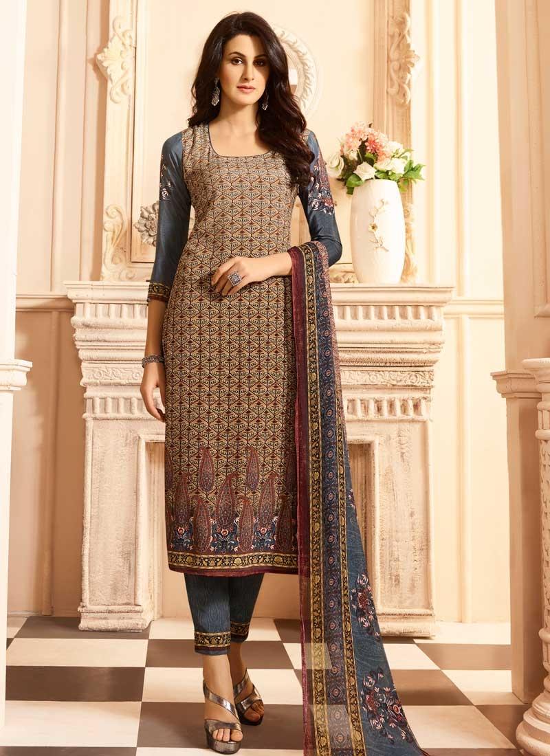 Crepe Silk Brown and Grey Digital Print Work Pant Style Pakistani Salwar Kameez