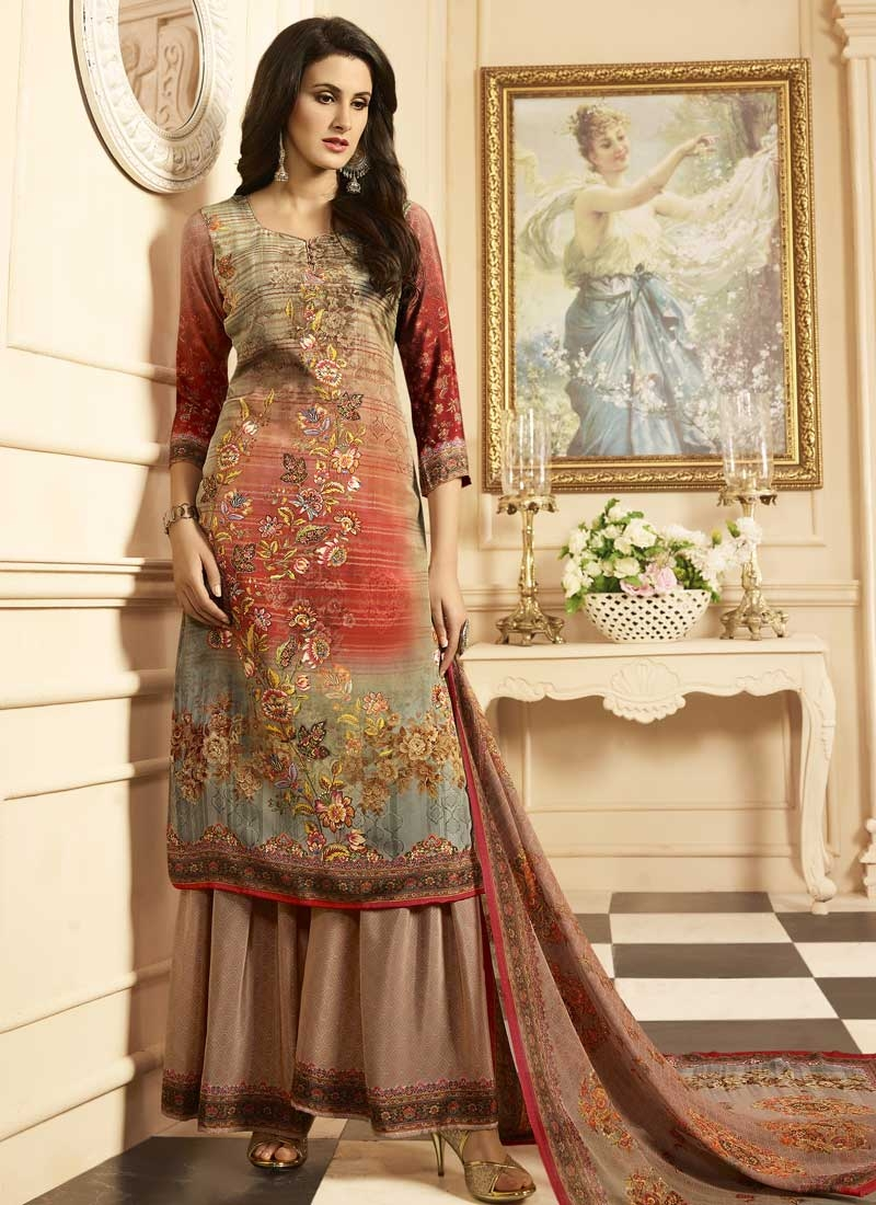 Crepe Silk Brown and Red Digital Print Work Palazzo Style Pakistani Salwar Suit