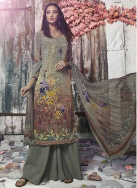 Crepe Silk Brown and Sea Green Digital Print Work Palazzo Style Pakistani Salwar Kameez