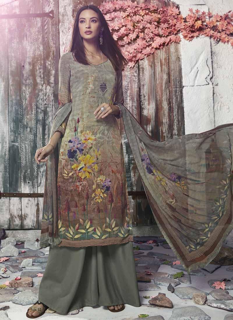 Crepe Silk Brown and Sea Green Digital Print Work Palazzo Style Pakistani Salwar Kameez
